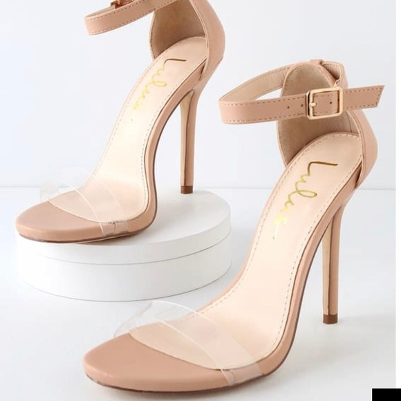 1f4b82c591e56 Nude Ankle Strap Heels with PVC (Clear) Strap NWT